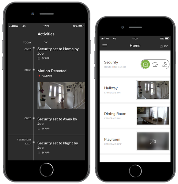 phone application showing security system, alarm system and video surveillance.